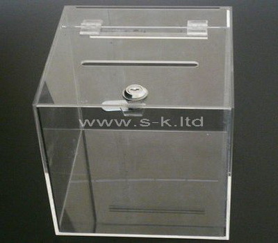 clear donation box with lock