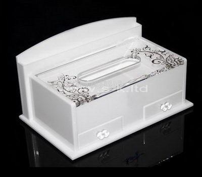 white tissue box holder