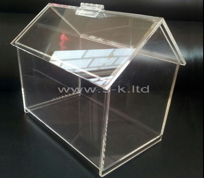 acrylic house shaped donation box