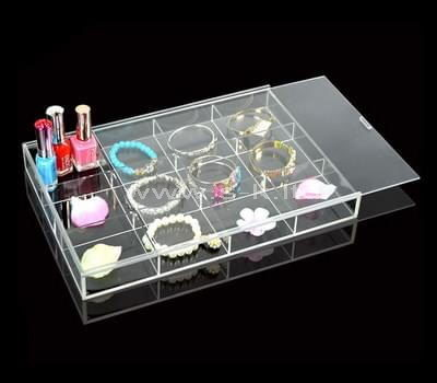 12 grids clear acrylic jewelry organizers with lid