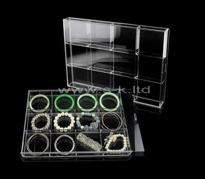 12 grids clear acrylic jewelry organizers box with lid