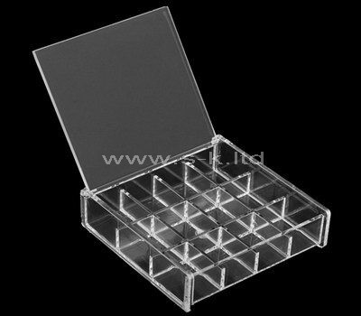 12 grids clear acrylic jewelry organizer with lid