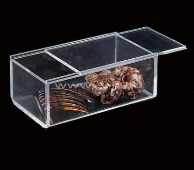 Clear acrylic crafts display case with sliding lid