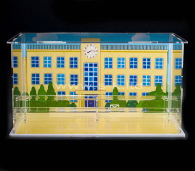 Clear acrylic painting building display cabinet