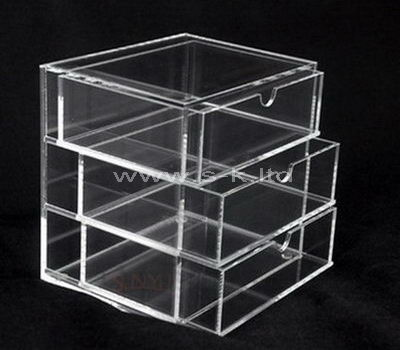 Custom design clear acrylic 3 drawers storage box