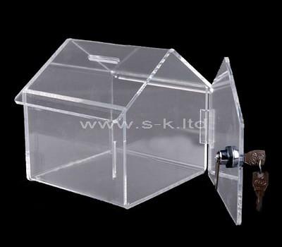 Custom design house shape acrylic charity box