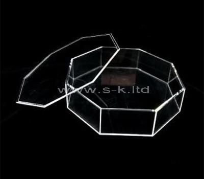 Custom octagon clear acrylic box with lid