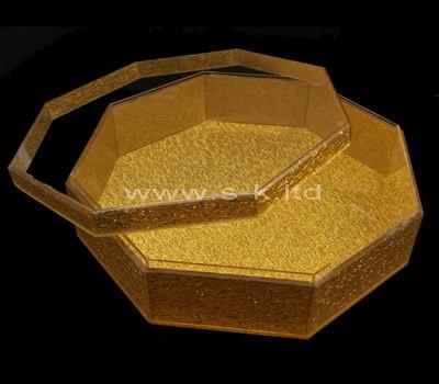 Custom octagon gold acrylic display case