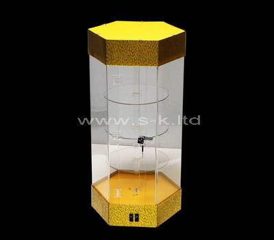 Custom hexagon acrylic lockable display cabinet