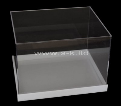 Custom 5 sided clear acrylic display case with white base