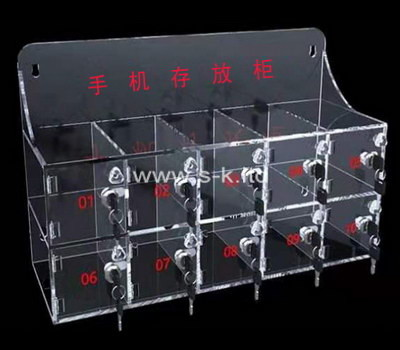 Custom 10 grids acrylic lockable phone cabinet