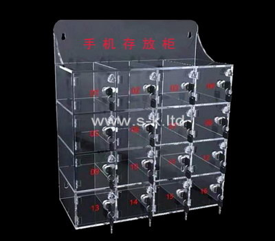 Custom wall 16 grids acrylic lockable phone cabinet