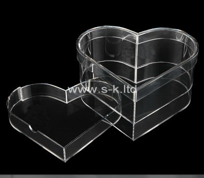Custom heart shape clear acrylic box
