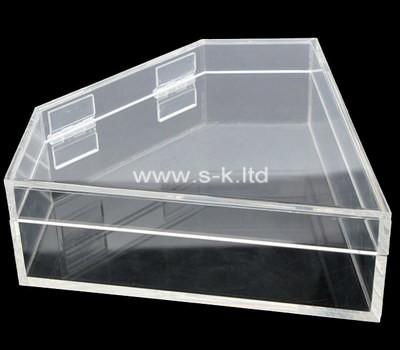 Custom fan-shaped clear acrylic box