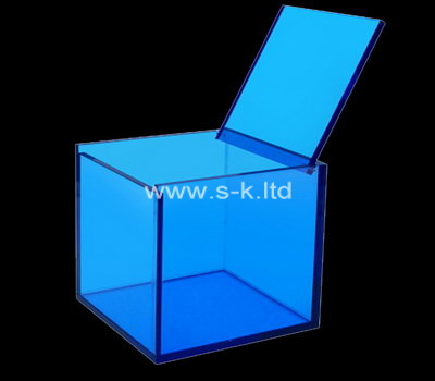 Custom square blue acrylic box with lid