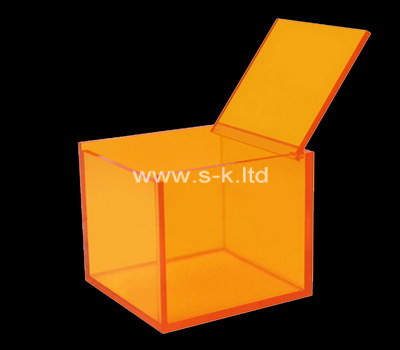 Custom square orange acrylic box with lid