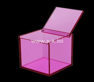 Custom square pink acrylic box with lid