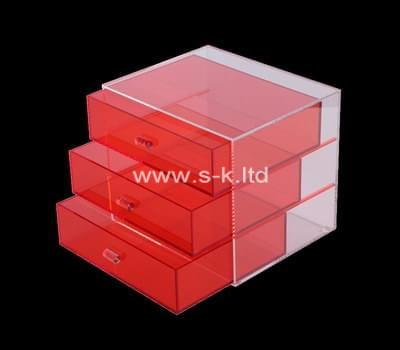 Custom red acrylic drawer organizer