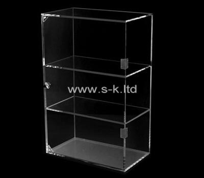 Custom 3 tiers lockable clear acrylic display cabinet