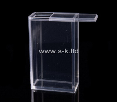 Custom clear plexiglass storage box with sliding lid