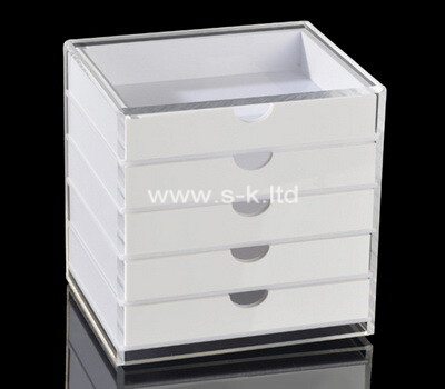 Custom white plexiglass 5 drawers storage organizer box