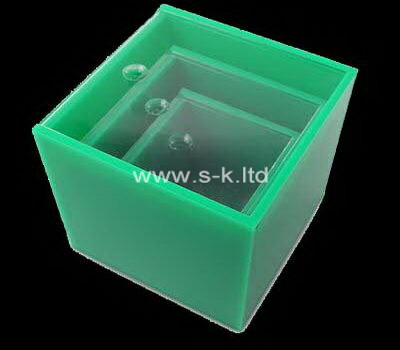 Custom green plexiglass organizer boxes
