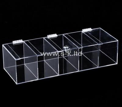 Custom 5 grids clear plexiglass storage boxes with lids