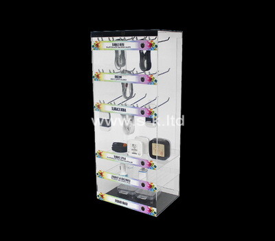 Custom tiered acrylic display cabinet with metal hangers