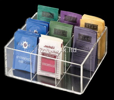 Custom clear acrylic 9 grids tea bags oragnizer box