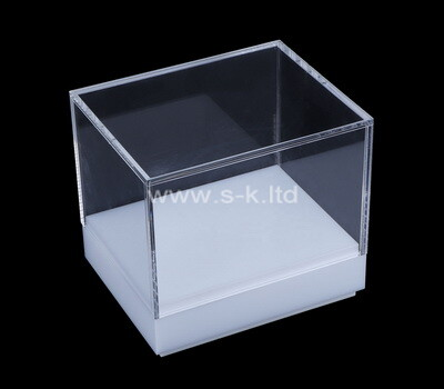 Custom acrylic 5 sided display box with white base