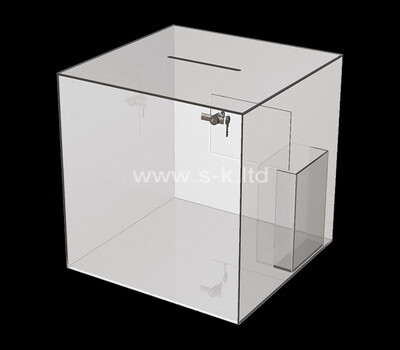 Custom square acrylic ballot box with brochure holder