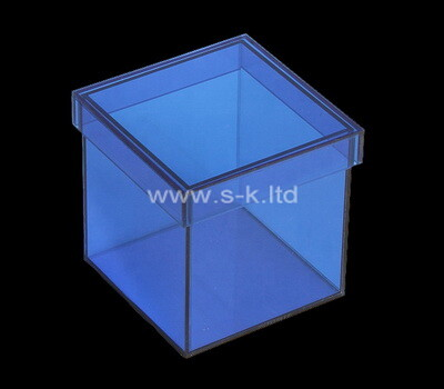 Custom square blue acrylic wedding gift box