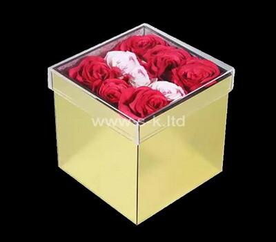 Custom square gold acrylic wedding rose box