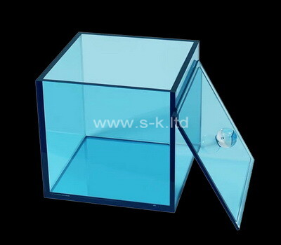 Custom square transparent blue acrylic box with lid