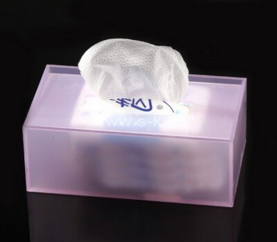 Custom transparent frosted purple acrylic facial tissue paper box