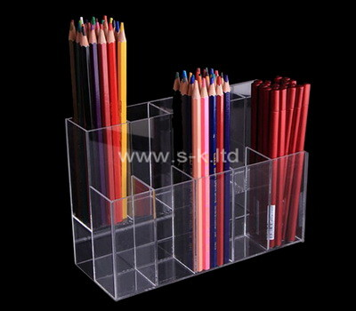 Custom clear acrylic pen holder organizer lucite pencil cup stationery organizer