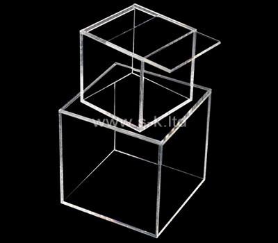 Custom square acrylic box plexiglass display case lucite organizer