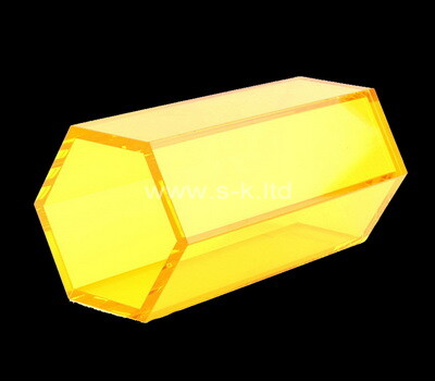 Custom hexagon plexiglass display case acrylic box