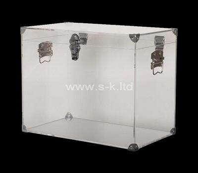 Custom metal fitting acrylic display case lucite storage box