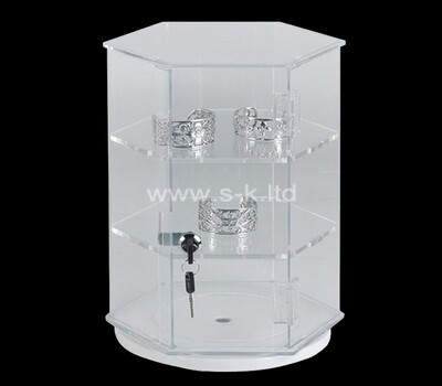Acrylic manufacturer customize multi tiered hexagon display cabinet